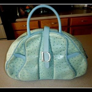 Christian Dior double saddle in blue ostrich